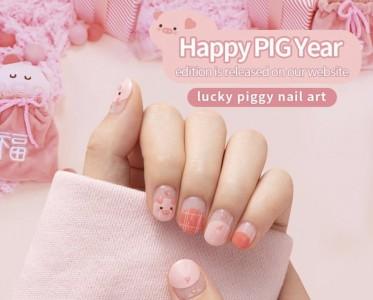 2019猪年开运美甲 怎么能少了粉红猪猪?