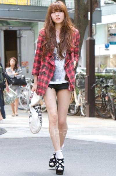 日本街拍日本punk街拍东京白袜子美女日本街  竖