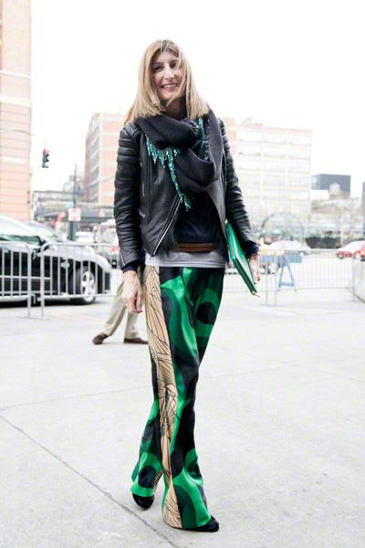潮人街拍穿衣 花裤子横行纽约时装周(图4)