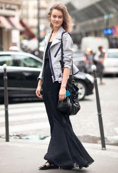 欧美街拍           单品:                    外套长裙连衣裙凉鞋