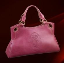 卡地亚粉红色山羊皮小号手提包