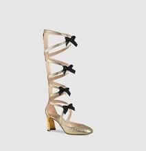 古驰2016春夏Pebbles 金属质感皮革短靴